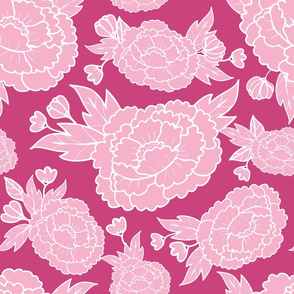 Peony Garden - Light Pink Flowers on Dark Pink