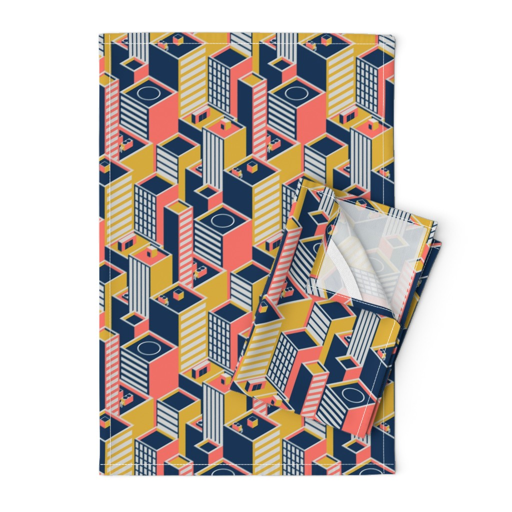 Orpington Tea Towels featuring Geometric Coral City by roofdog_designs