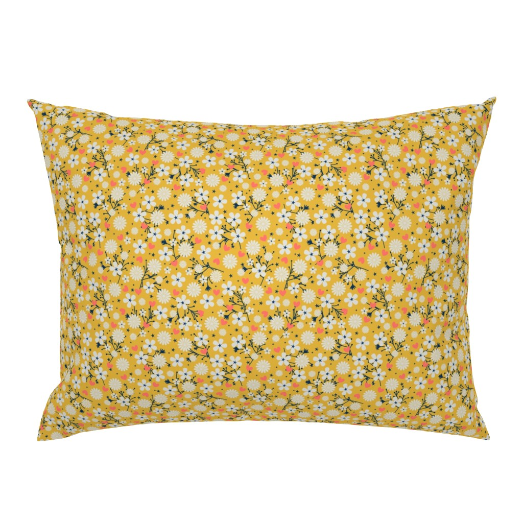 Campine Pillow Sham featuring Dancing Blossom - Yellow by merry_makewell_designs