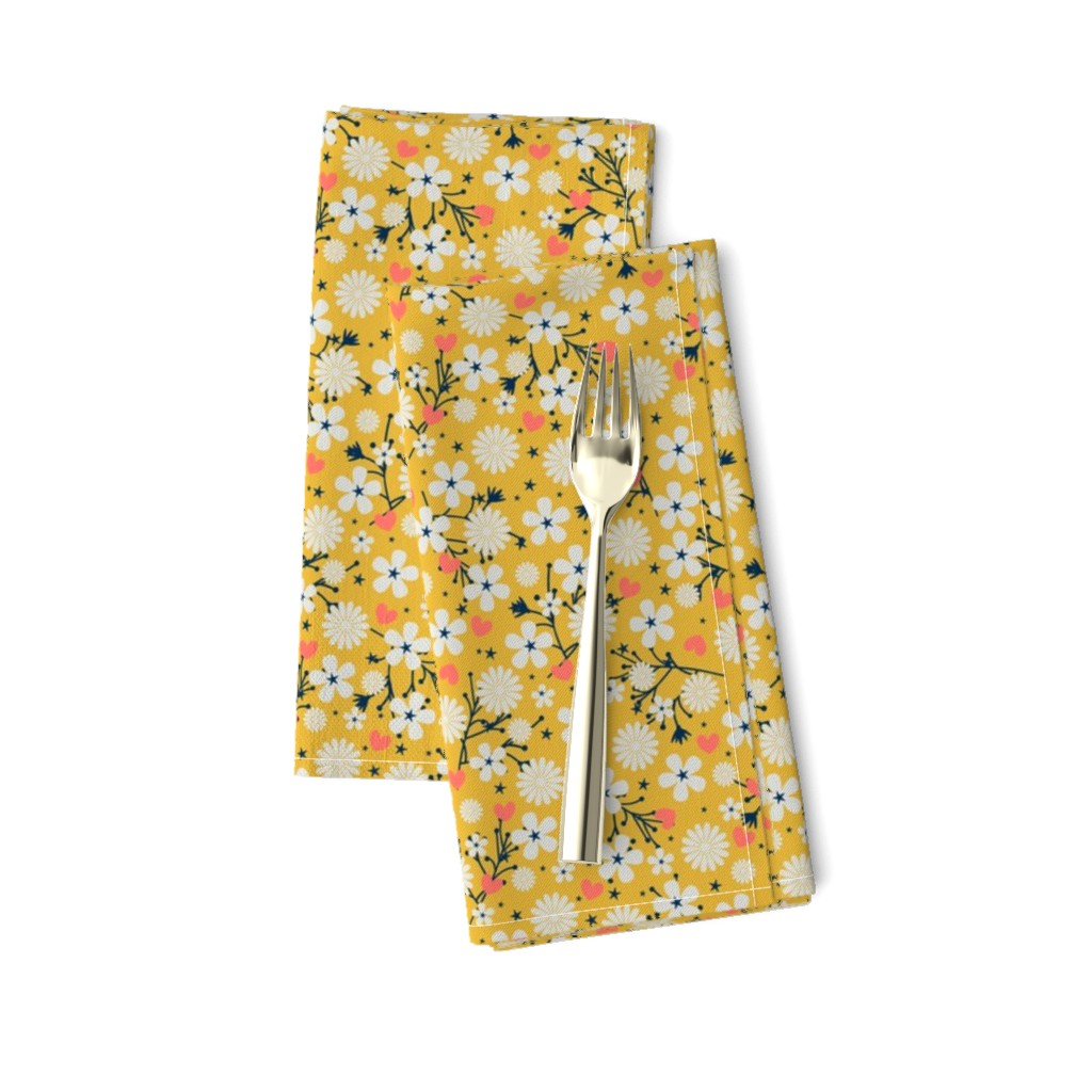 Amarela Dinner Napkins featuring Dancing Blossom - Yellow by merry_makewell_designs