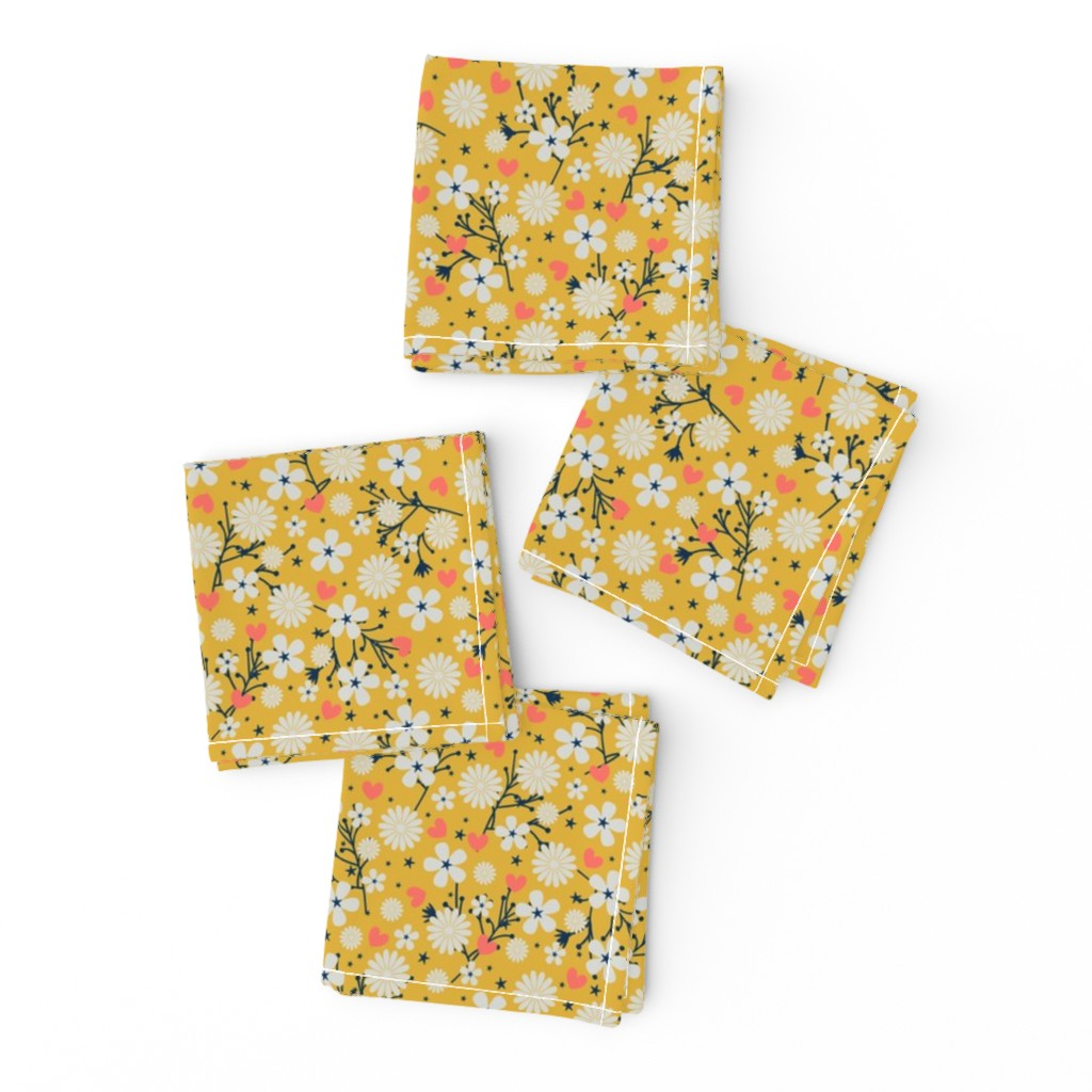 Frizzle Cocktail Napkins featuring Dancing Blossom - Yellow by merry_makewell_designs