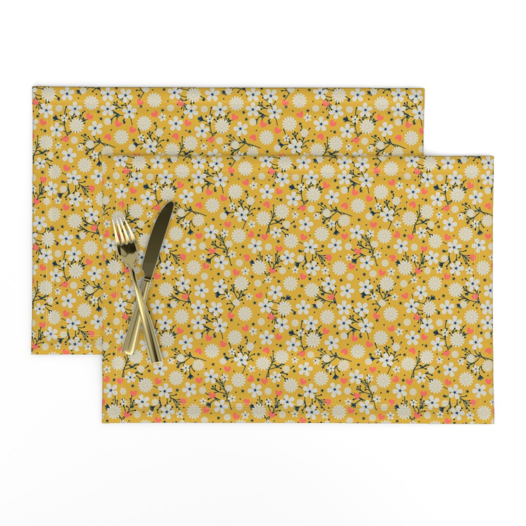 Lamona Cloth Placemats featuring Dancing Blossom - Yellow by merry_makewell_designs