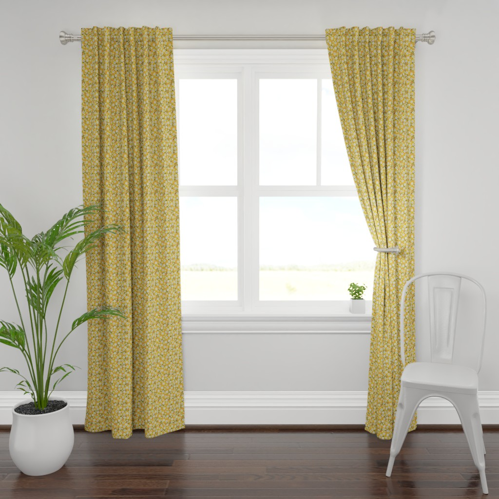 Plymouth Curtain Panel featuring Dancing Blossom - Yellow by merry_makewell_designs