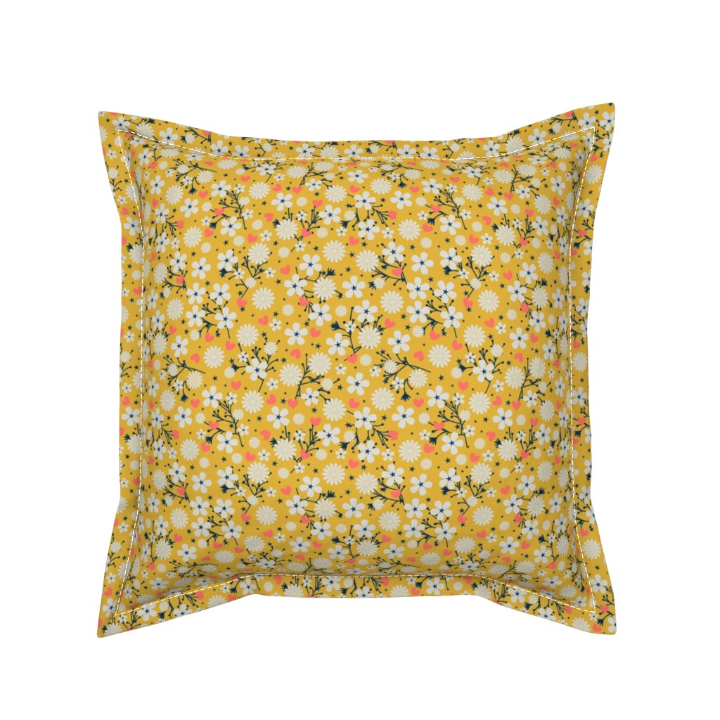 Serama Throw Pillow featuring Dancing Blossom - Yellow by merry_makewell_designs
