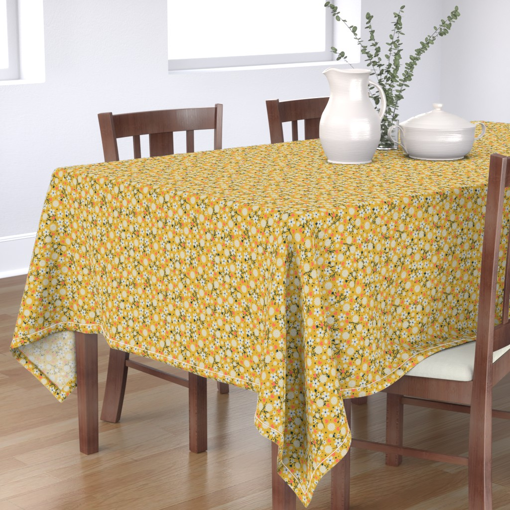 Bantam Rectangular Tablecloth featuring Dancing Blossom - Yellow by merry_makewell_designs