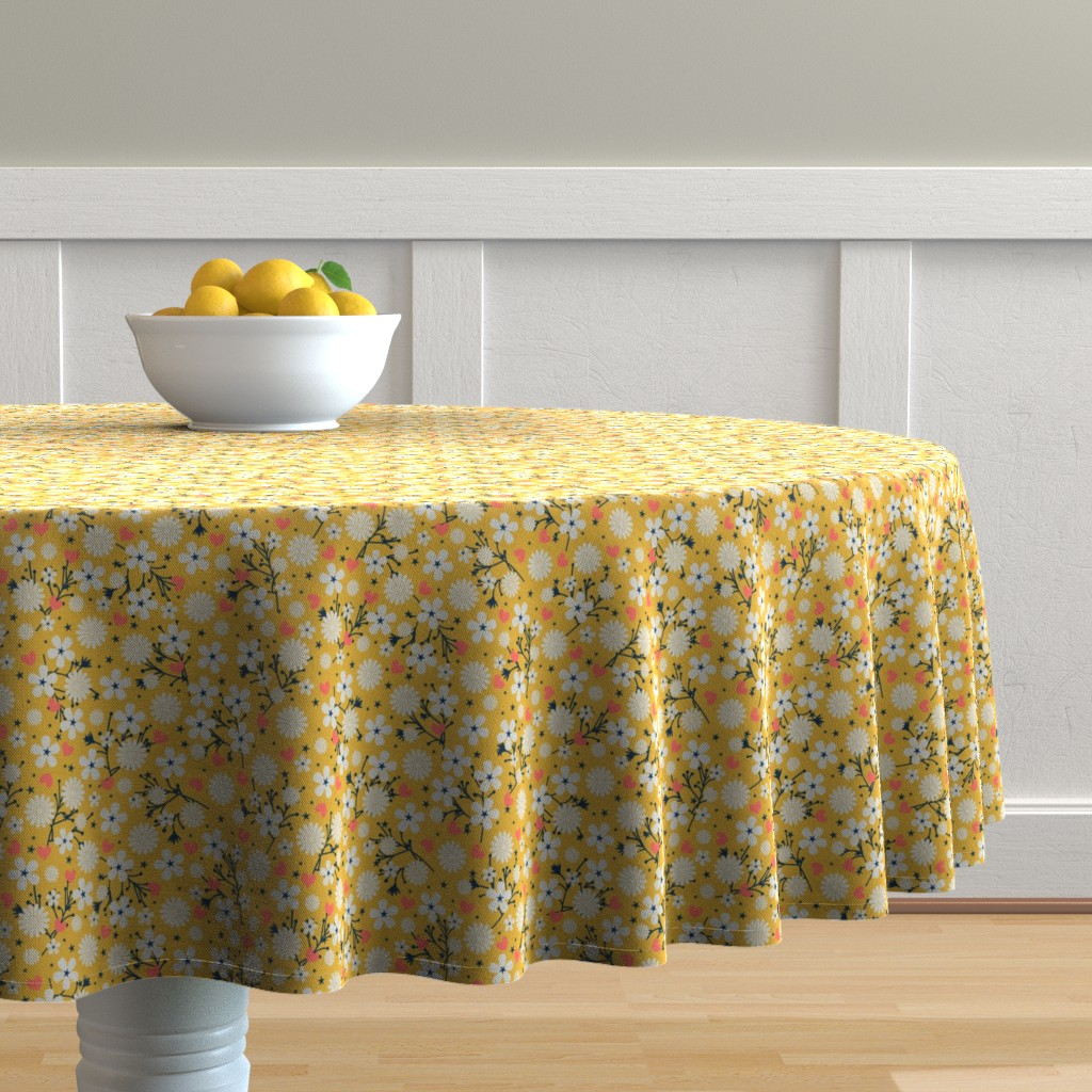 Malay Round Tablecloth featuring Dancing Blossom - Yellow by merry_makewell_designs