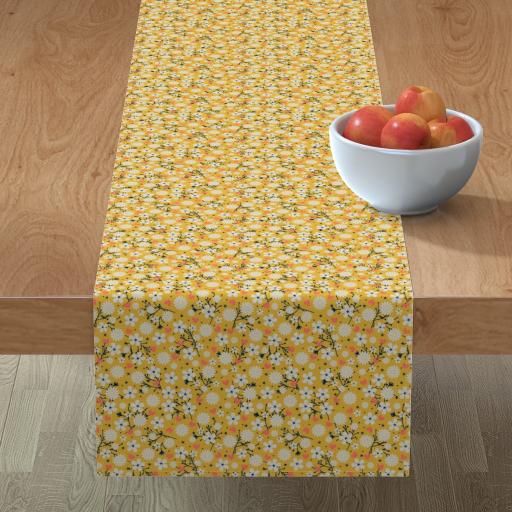 Minorca Table Runner featuring Dancing Blossom - Yellow by merry_makewell_designs