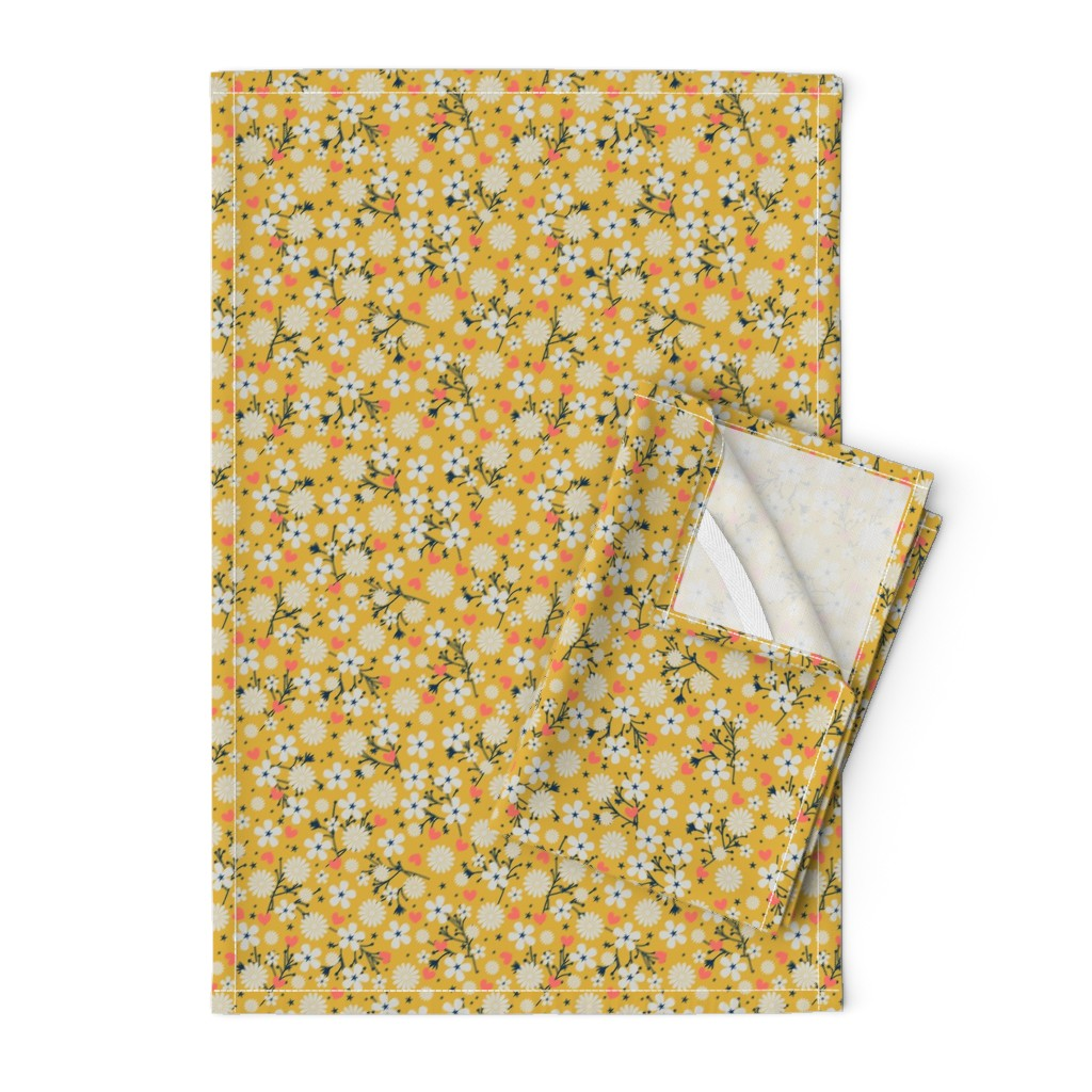 Orpington Tea Towels featuring Dancing Blossom - Yellow by merry_makewell_designs