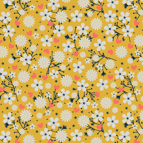 Dancing Blossom - Yellow (large print)