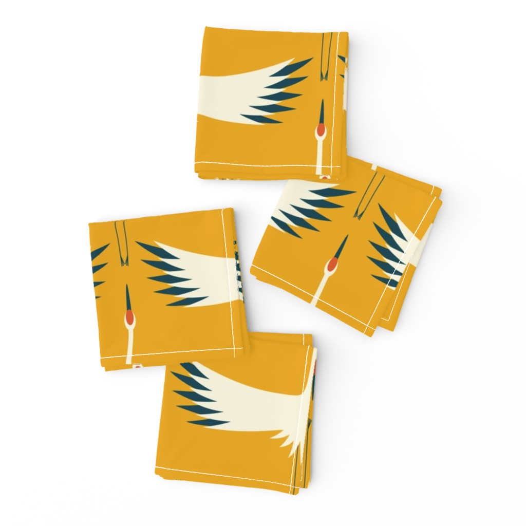 """Frizzle Cocktail Napkins featuring Whooping Crane Migration (24"""" wingspan wallpaper)- Sunshine - Larger by katerhees"""
