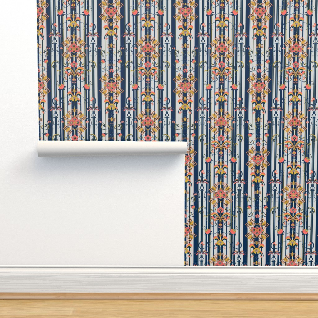 Isobar Durable Wallpaper featuring Allmoge with stripes by arrpdesign