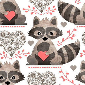 Raccoon's Valentine - Coral - Large Scale Client Requested