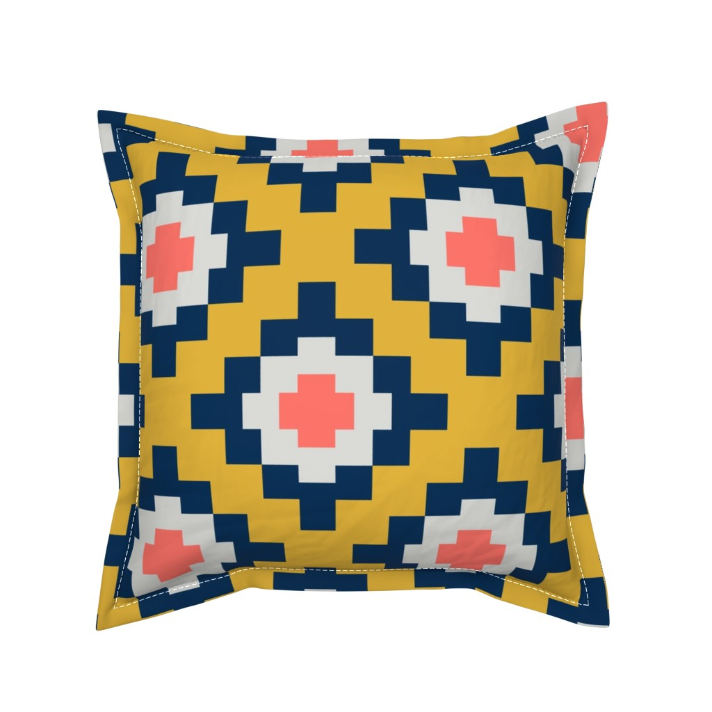 Serama Throw Pillow featuring The Sun also Rises, West by Southwest (Living Coral limited palette) by Su_G_©SuSchaefer by su_g