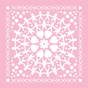 Pink Paper Chain Dolls Cushion Covers