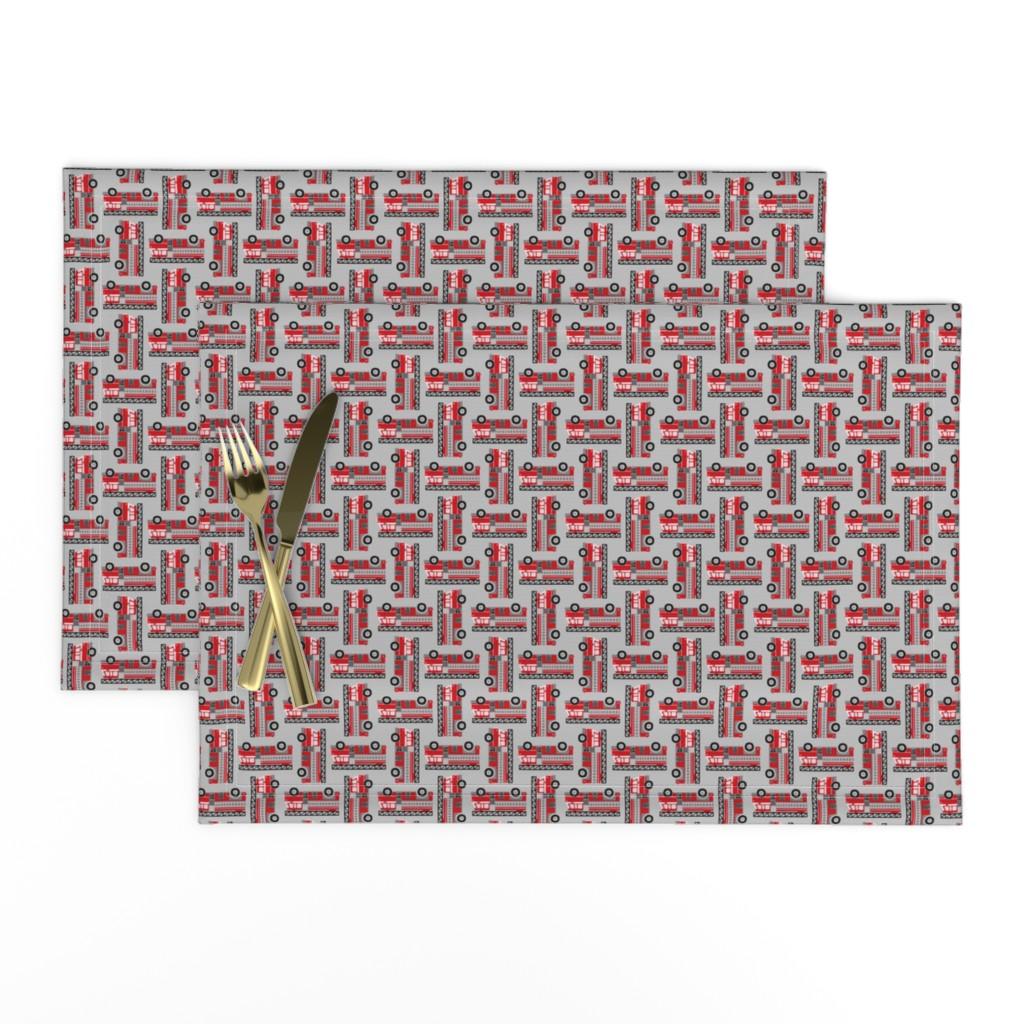 Lamona Cloth Placemats featuring firetrucks - light grey, small by mirabelleprint