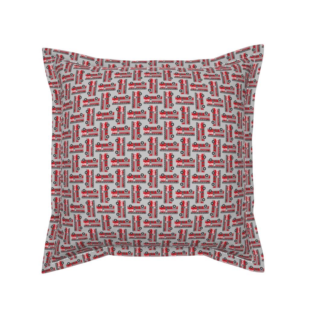Serama Throw Pillow featuring firetrucks - light grey, small by mirabelleprint