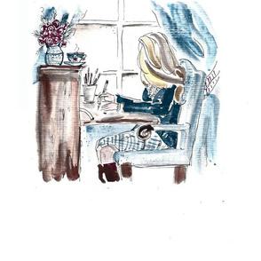 Morning at the Desk - Blonde