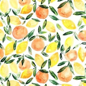 Sicilian orchard  || watercolor lemons, tangerines, mandarines, oranges summer pattern