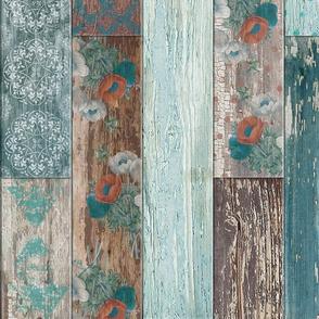 Vintage Wood Tiles Random Teal Blue Coffee Brown