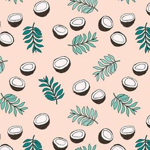 Tropical summer coconut palm leaves summer print gender neutral girls green peach MEDIUM