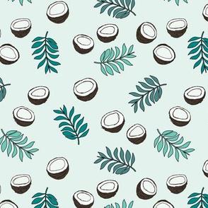 Tropical summer coconut palm leaves summer print gender neutral green mint MEDIUM