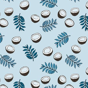 Tropical summer coconut palm leaves summer print gender neutral cool blue winter boys MEDIUM