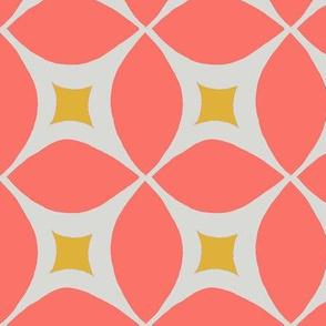 mid century modern coral geometric circles