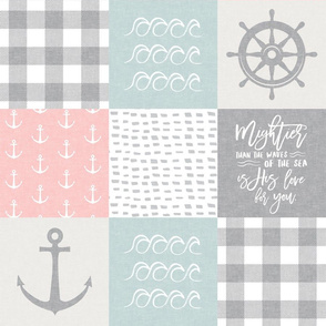 Nautical Patchwork (pink & blue)- Mightier than the waves - Wave wholecloth - nautical nursery fabric  LAD19