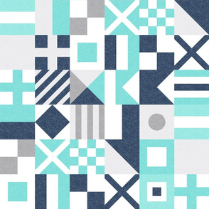 """(3"""" small scale) Nautical Flags Patchwork - Wholecloth - Teal and Blue - Maritime flags - LAD19"""