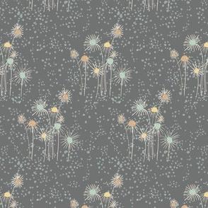 Wispy Flowers - gray