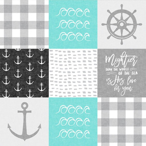 Nautical Patchwork (black and teal)- Mightier than the waves -  Wave wholecloth - nautical nursery fabric LAD19