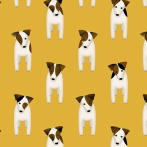 Parson / Jack Russell Terriers standing at attention / goldenrod