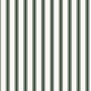 Ticking Stripe : Deep Forest Green & Dusty Cream