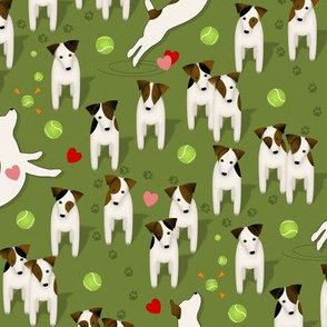 Parson / Jack Russell Terriers dogs with heart / Olive green