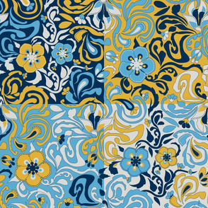Floral Patchwork Squares Large Blue N Yellow