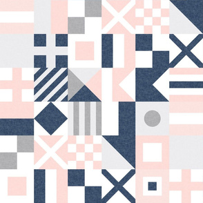 """(3"""" small scale) Nautical Flags Patchwork - Wholecloth - Soft Pink and Navy - Maritime flags - LAD19"""