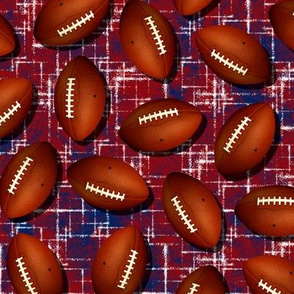 Footballs on blue w white accent pattern red grunge texture fall sports