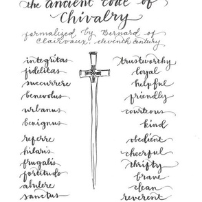 Ancient Code of Chivalry black and white