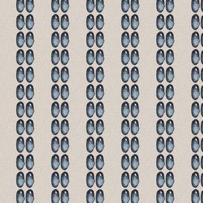 19-02S Indigo Blue Pearl Stripe  Beige Linen _ Miss Chiff Designs