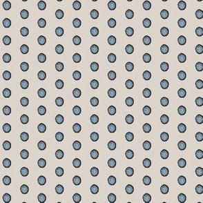 19-02M Slate Indigo Blue Watercolor Polka Dot Beige Linen _ Miss Chiff Designs