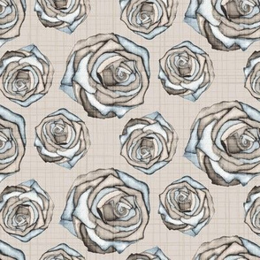 19-02J Rose Watercolor Neutral Tan Blue Taupe _ Miss Chiff Designs