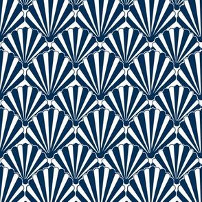 Art Deco Pattern //navy shell, Art deco fan, scallop
