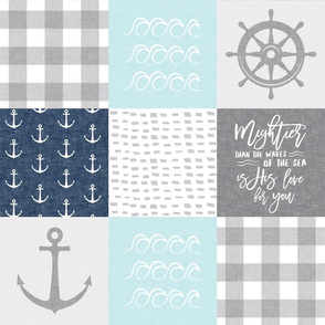 Nautical Patchwork (baby blue and navy) - Mightier than the waves - Wave wholecloth - nautical nursery fabric  LAD19