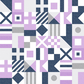 Nautical Flags Patchwork - Wholecloth - Purple &  Navy - Maritime flags - LAD19