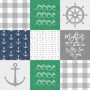 Nautical Patchwork (green & navy) - Mightier than the waves - Wave wholecloth - nautical nursery fabric LAD19
