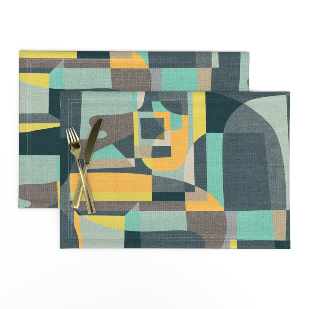Lamona Cloth Placemats featuring Modern Oasis {Aquamarine} by ceciliamok