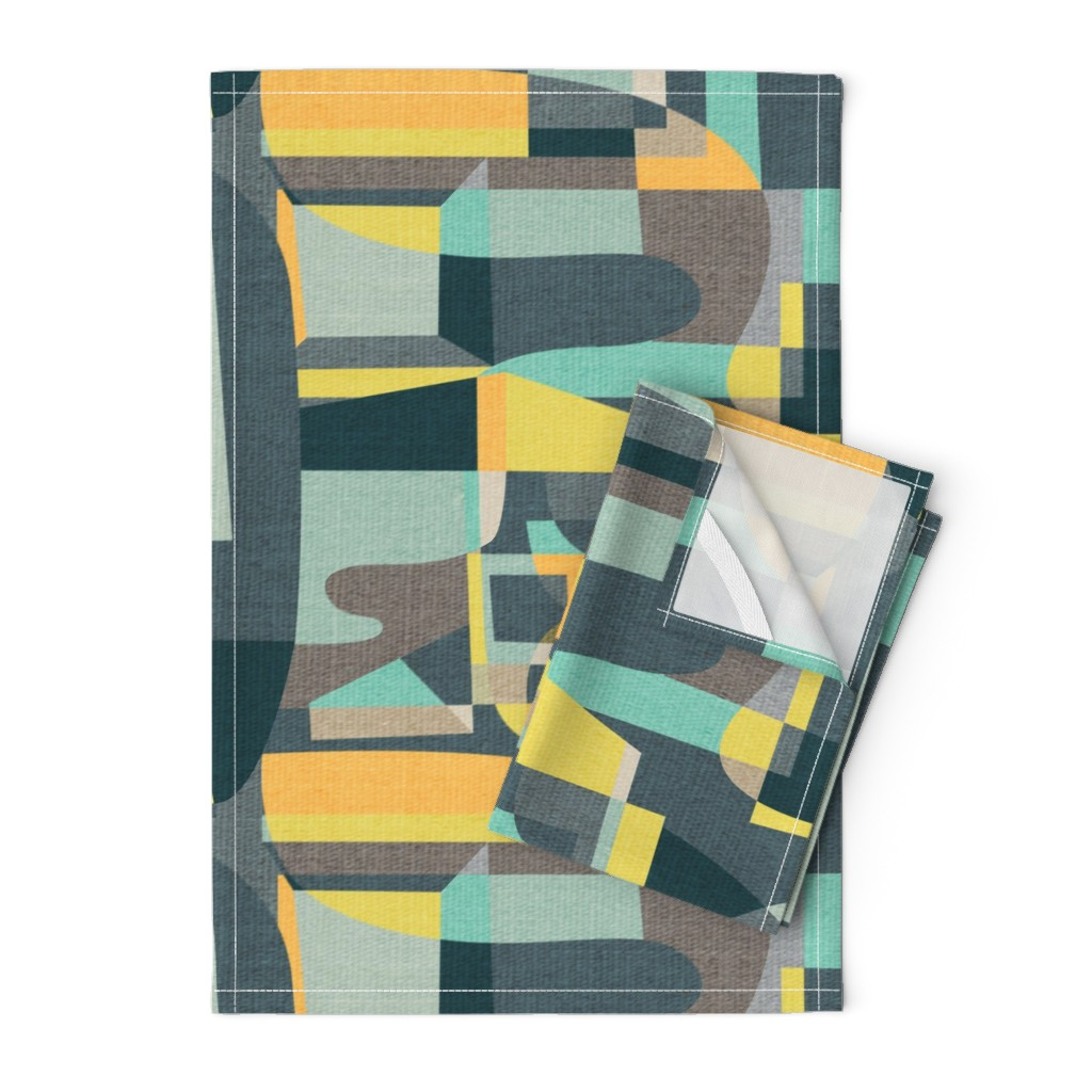 Orpington Tea Towels featuring Modern Oasis {Aquamarine} by ceciliamok