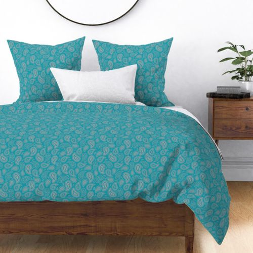 Fabric by the Yard Paisley Meadow - Teal Silver