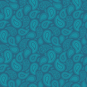 Teal Paisley on Indigo