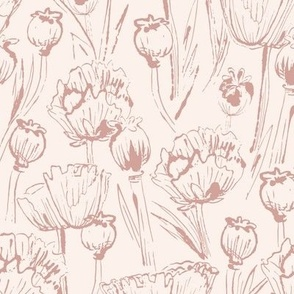 Vintage floral puce and cream